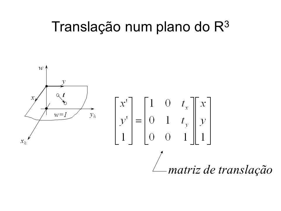 Translação num plano do R 3 yhyh xhxh w w=1 x y t matriz de translação