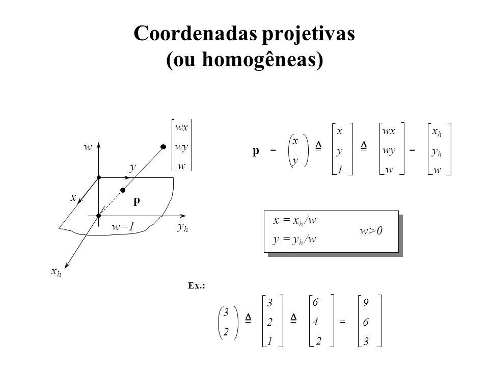 Coordenadas projetivas (ou homogêneas) x y p wx wy w xhxh yhyh w == x y 1 =  =  yhyh xhxh w w=1 x y wx wy w x = x h /w y = y h /w w>0 Ex.: 3 2 1 3 2 6 4 2 9 6 3 = =  =  p