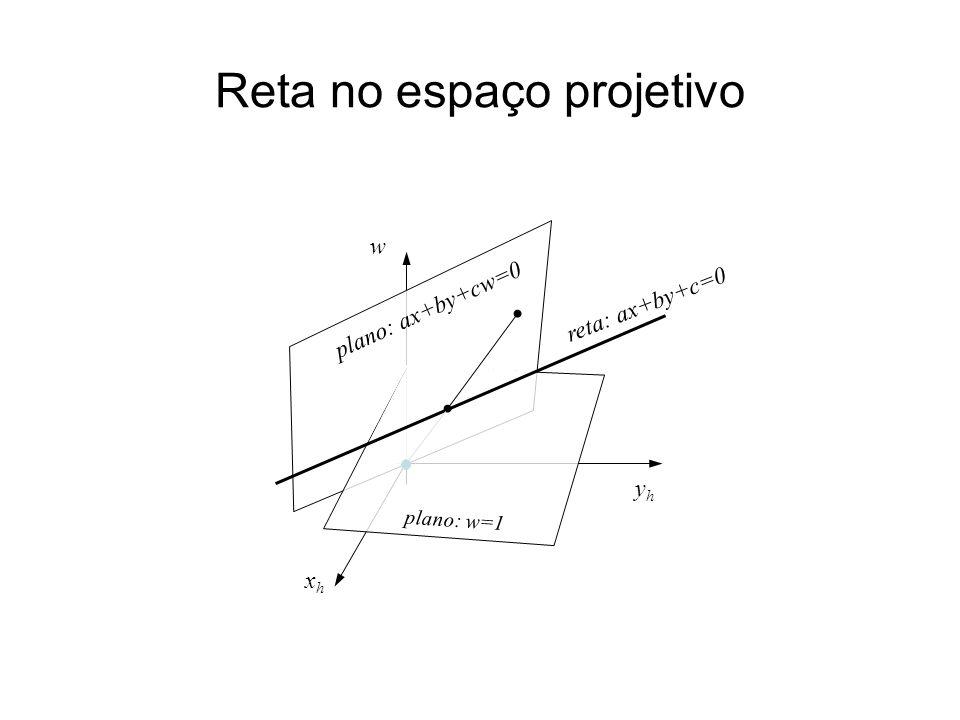 Reta no espaço projetivo yhyh xhxh w reta: ax+by+c=0 plano: ax+by+cw=0 plano: w=1
