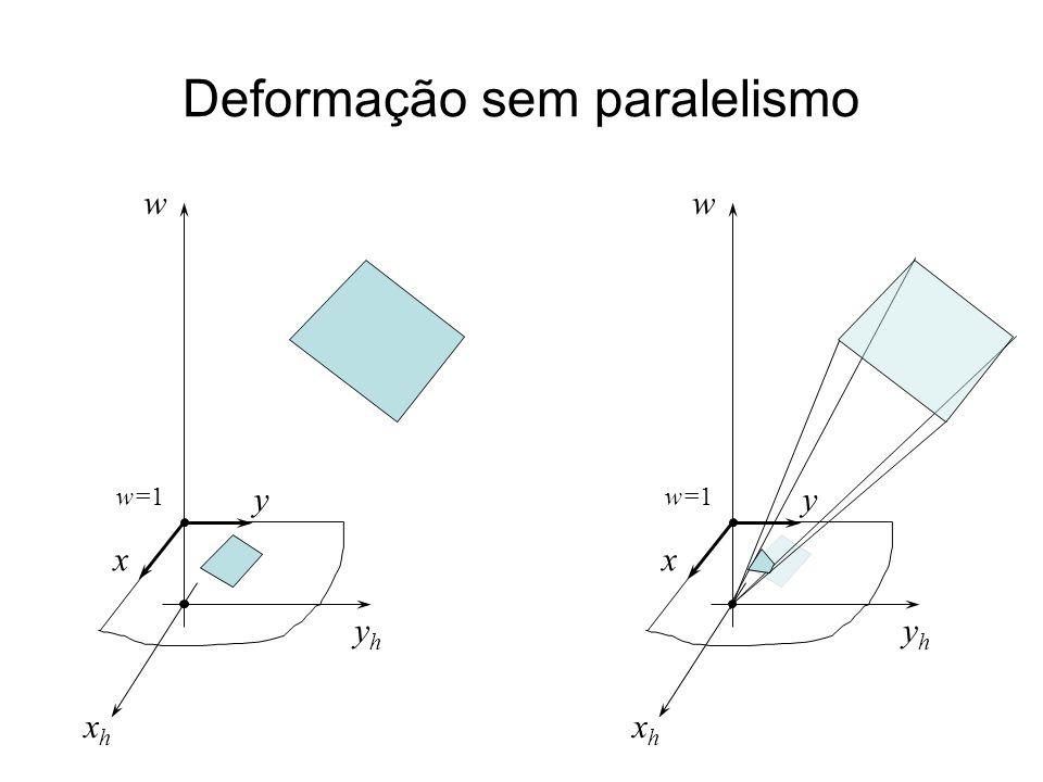 Deformação sem paralelismo yhyh xhxh w w=1 x y yhyh xhxh w x y