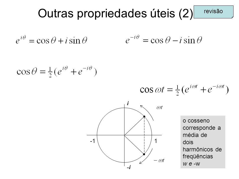 Outras propriedades úteis (2) revisão 1 i -i o cosseno corresponde a média de dois harmônicos de freqüências w e -w