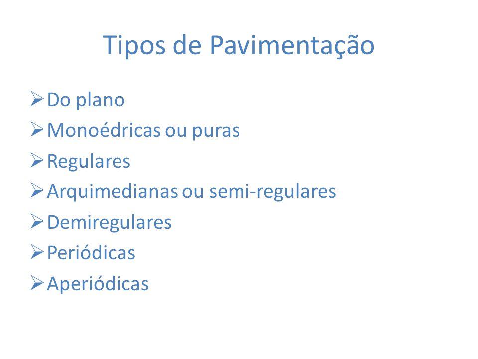 Tipos de Pavimentação  Do plano  Monoédricas ou puras  Regulares  Arquimedianas ou semi-regulares  Demiregulares  Periódicas  Aperiódicas