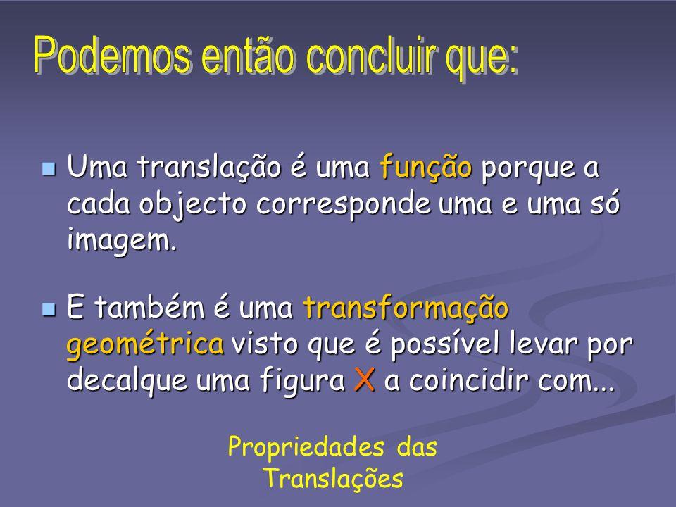 Propriedades das Translações A figura 2 foi obtida da figura 1 por uma translação. A cada ponto da figura 1 corresponde um e um só ponto da figura 2.