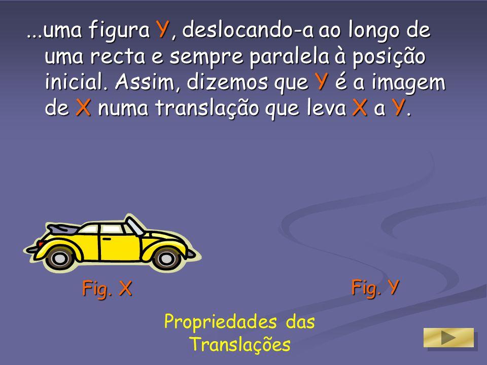 Propriedades das Translações Uma translação é uma função porque a cada objecto corresponde uma e uma só imagem. E também é uma transformação geométric