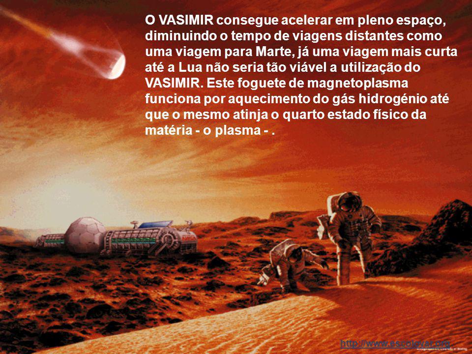 http://www.escolovar.org O novo foguete que será testado brevemente pela NASA, o VASIMIR, esta maravilha tecnológica, terá a capacidade de acelerar, e