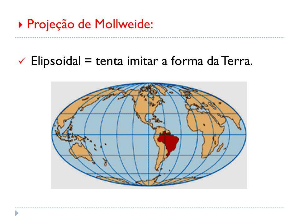  Projeção de Mollweide: Elipsoidal = tenta imitar a forma da Terra.