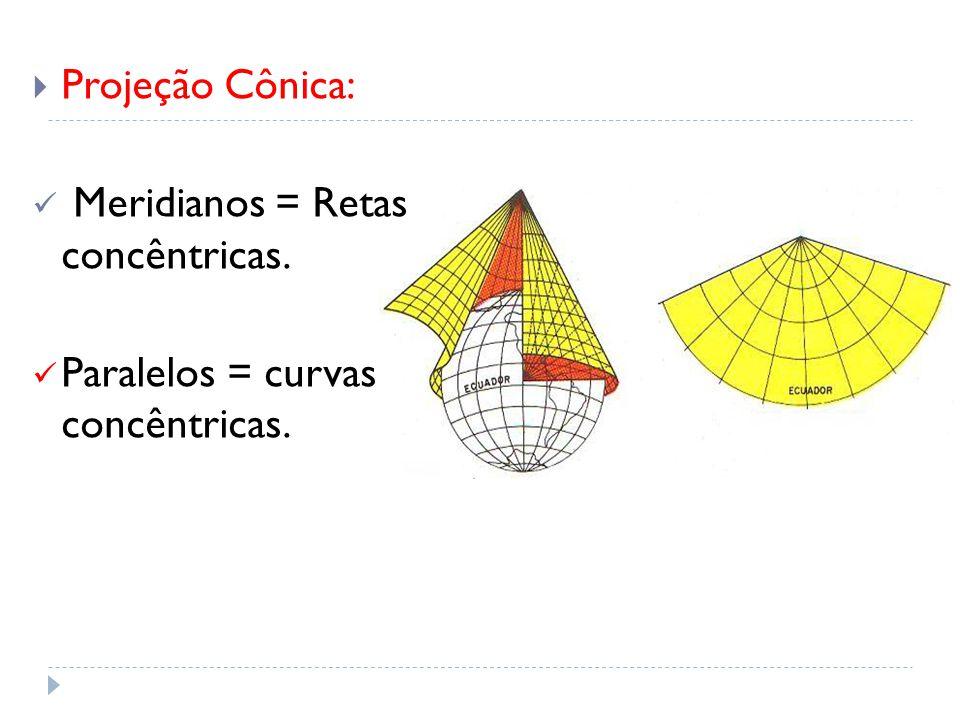 Projeção Cônica: Meridianos = Retas concêntricas. Paralelos = curvas concêntricas.