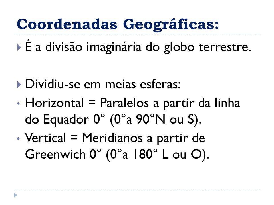 Coordenadas Geográficas:  É a divisão imaginária do globo terrestre.  Dividiu-se em meias esferas: Horizontal = Paralelos a partir da linha do Equad