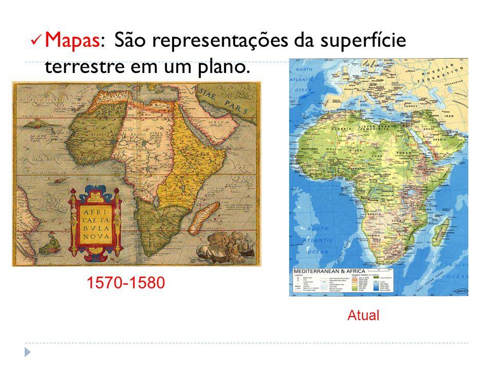 Mapas: São representações da superfície terrestre em um plano. 1570-1580 Atual