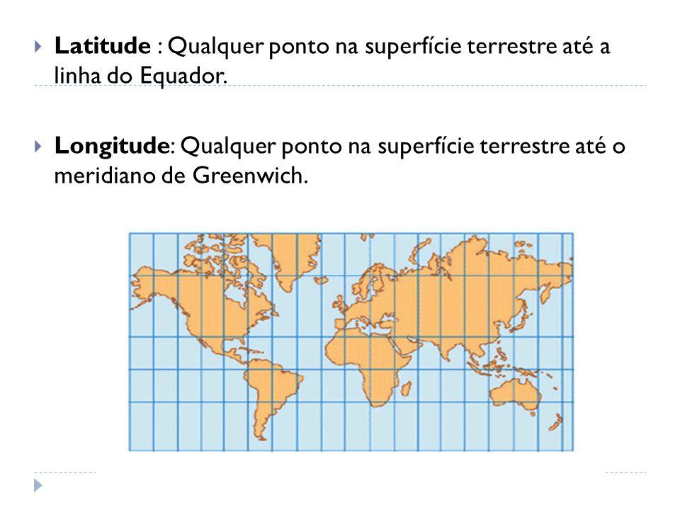  Latitude : Qualquer ponto na superfície terrestre até a linha do Equador.  Longitude: Qualquer ponto na superfície terrestre até o meridiano de Gre