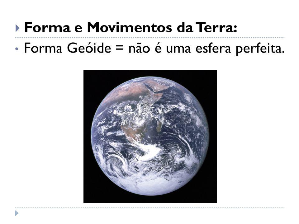  Forma e Movimentos da Terra: Forma Geóide = não é uma esfera perfeita.