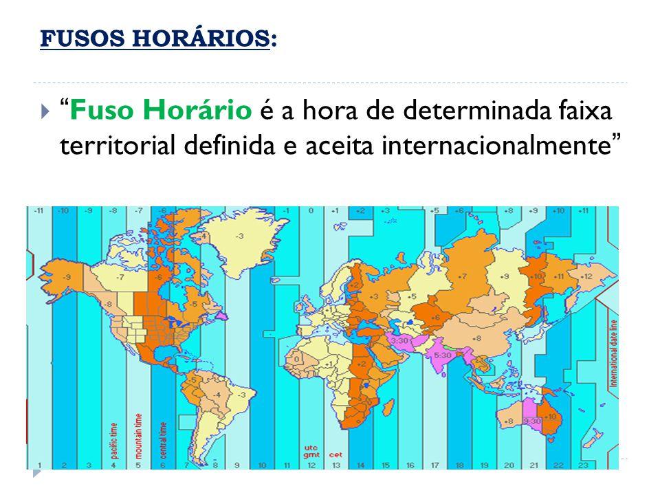 """ """"Fuso Horário é a hora de determinada faixa territorial definida e aceita internacionalmente"""" FUSOS HORÁRIOS:"""