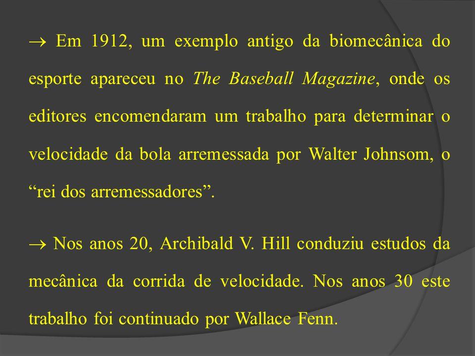  Em 1912, um exemplo antigo da biomecânica do esporte apareceu no The Baseball Magazine, onde os editores encomendaram um trabalho para determinar o