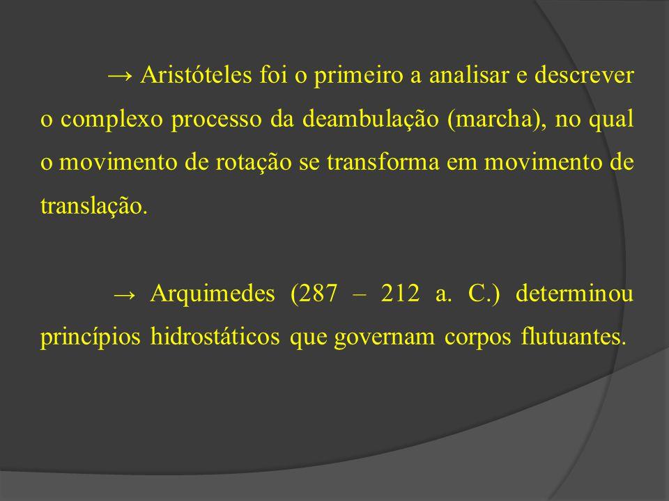 → Aristóteles foi o primeiro a analisar e descrever o complexo processo da deambulação (marcha), no qual o movimento de rotação se transforma em movim