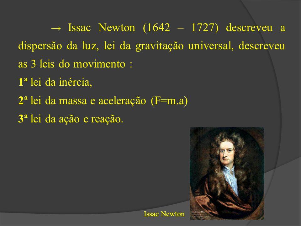 → Issac Newton (1642 – 1727) descreveu a dispersão da luz, lei da gravitação universal, descreveu as 3 leis do movimento : 1ª lei da inércia, 2ª lei d