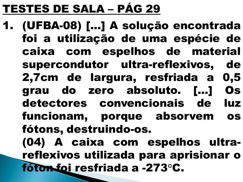 TESTES DE SALA – PÁG 29 1.(UFBA-08) [...] A solução encontrada foi a utilização de uma espécie de caixa com espelhos de material supercondutor ultra-r