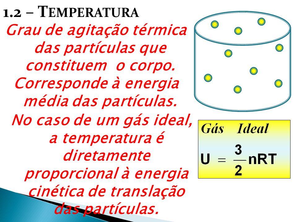 1.2 – T EMPERATURA Grau de agitação térmica das partículas que constituem o corpo. Corresponde à energia média das partículas. No caso de um gás ideal