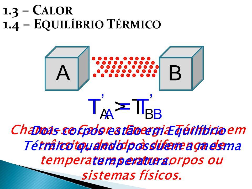 A 1.3 – C ALOR A BB T A > T B T ' A = T ' B Chama-se Calor a Energia Térmica em trânsito, devido à diferença de temperaturas entre corpos ou sistemas