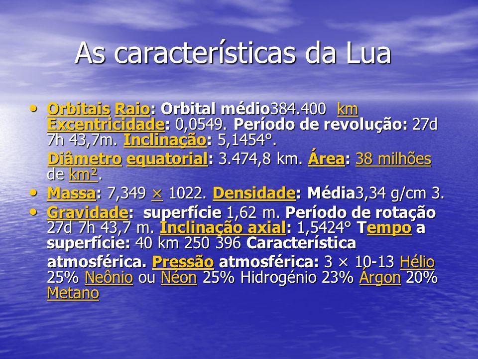 As características da Lua As características da Lua Orbitais Raio: Orbital médio384.400 km Excentricidade: 0,0549.