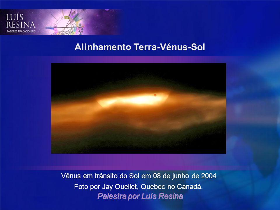 Alinhamento Terra-Vénus-Sol Vênus em trânsito do Sol em 08 de junho de 2004 Foto por Jay Ouellet, Quebec no Canadá. Palestra por Luís Resina