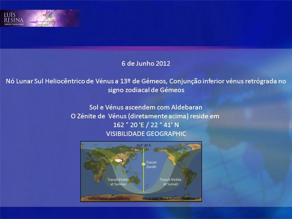 6 de Junho 2012 Nó Lunar Sul Heliocêntrico de Vénus a 13º de Gémeos, Conjunção inferior vénus retrógrada no signo zodiacal de Gémeos Sol e Vénus ascen