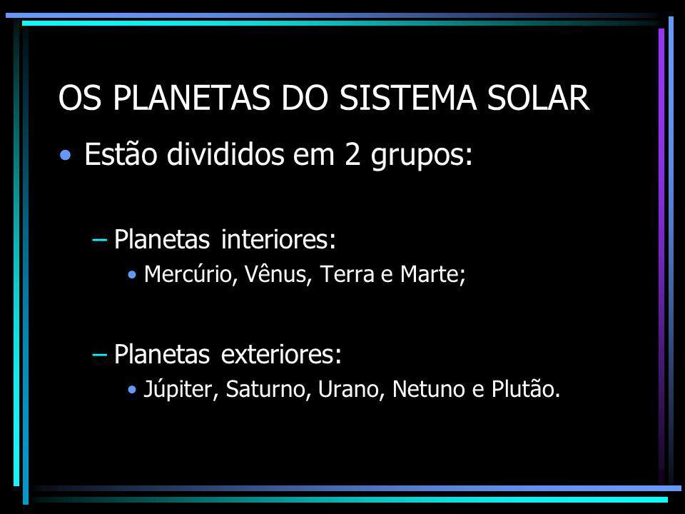OS PLANETAS DO SISTEMA SOLAR Mercúrio: –Superfície marcada por crateras, com zonas montanhosas e vales.