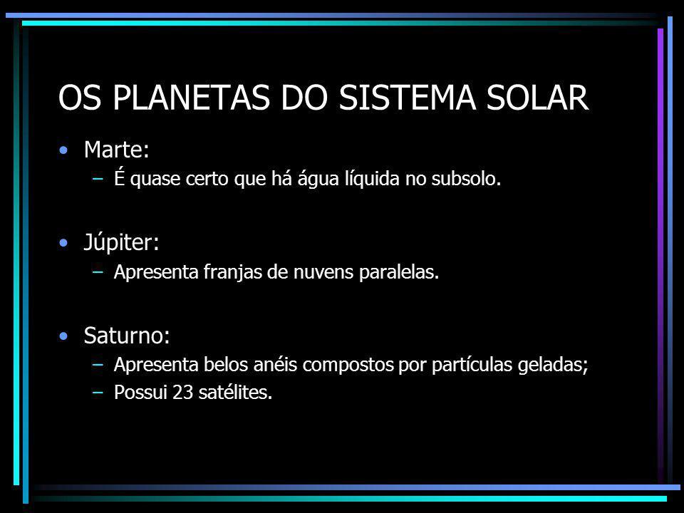 OS PLANETAS DO SISTEMA SOLAR Urano: –Apresenta cor azul-esverdeada.