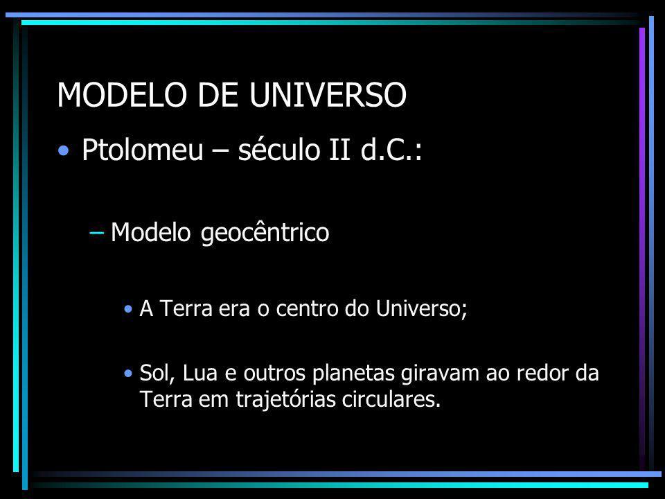 MODELO DE UNIVERSO Nicolau Copérnico (1473 – 1601): –Modelo heliocêntrico: O Sol é o centro imóvel do universo; Todos os planetas giram ao redor do Sol em órbitas circulares.