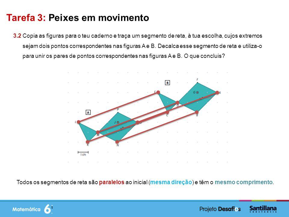 Tarefa 3: Peixes em movimento 3.2 Copia as figuras para o teu caderno e traça um segmento de reta, à tua escolha, cujos extremos sejam dois pontos correspondentes nas figuras A e B.