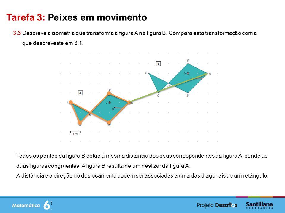 Tarefa 3: Peixes em movimento 3.3 Descreve a isometria que transforma a figura A na figura B.