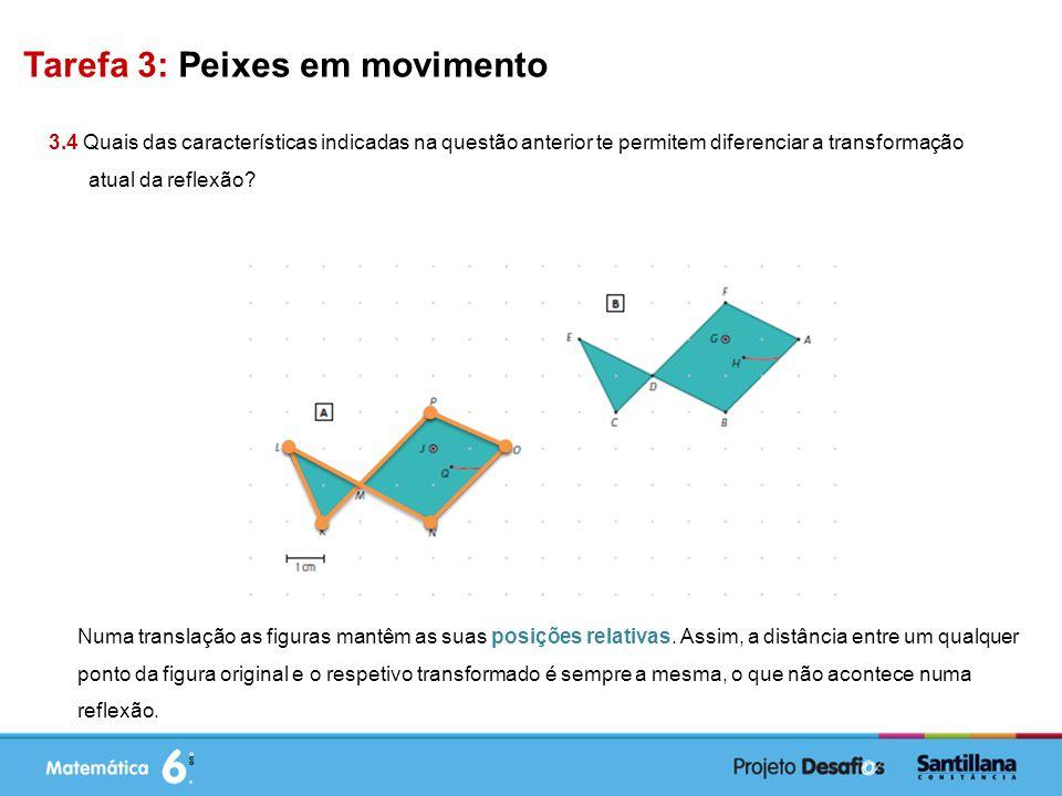 Tarefa 3: Peixes em movimento 3.4 Quais das características indicadas na questão anterior te permitem diferenciar a transformação atual da reflexão.