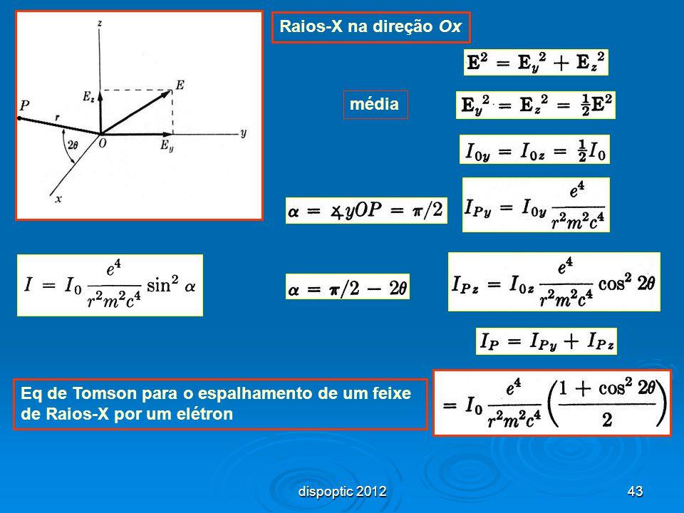 43 média Raios-X na direção Ox Eq de Tomson para o espalhamento de um feixe de Raios-X por um elétron dispoptic 2012