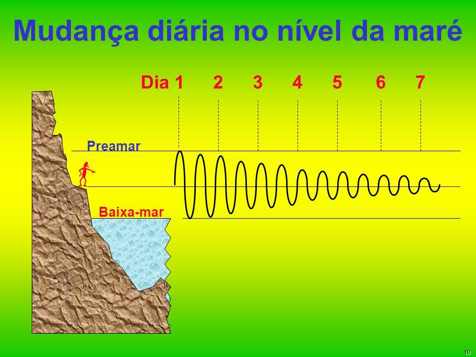 Mudança diária no nível da maré Baixa-mar Preamar Dia 1234567 10