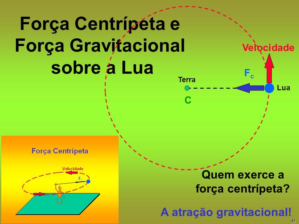 Força Centrípeta e Força Gravitacional sobre a Lua FcFc Velocidade C Terra Lua A atração gravitacional! Quem exerce a força centrípeta? 43