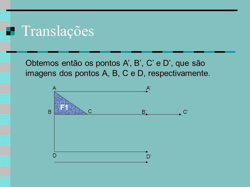 Translações B C F1 A D Obtemos então os pontos A', B', C' e D', que são imagens dos pontos A, B, C e D, respectivamente. C' A' B' D'