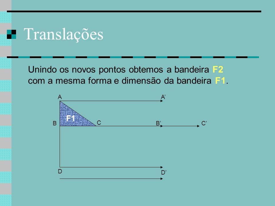 Translações B C F1 A D C' A' B' Unindo os novos pontos obtemos a bandeira F2 com a mesma forma e dimensão da bandeira F1. D'