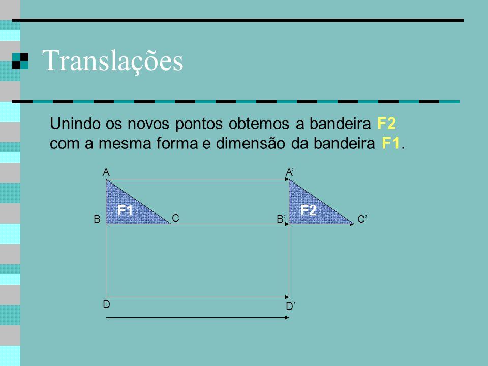 Translações B C F1 A D F2 C' A' B' Unindo os novos pontos obtemos a bandeira F2 com a mesma forma e dimensão da bandeira F1. D'