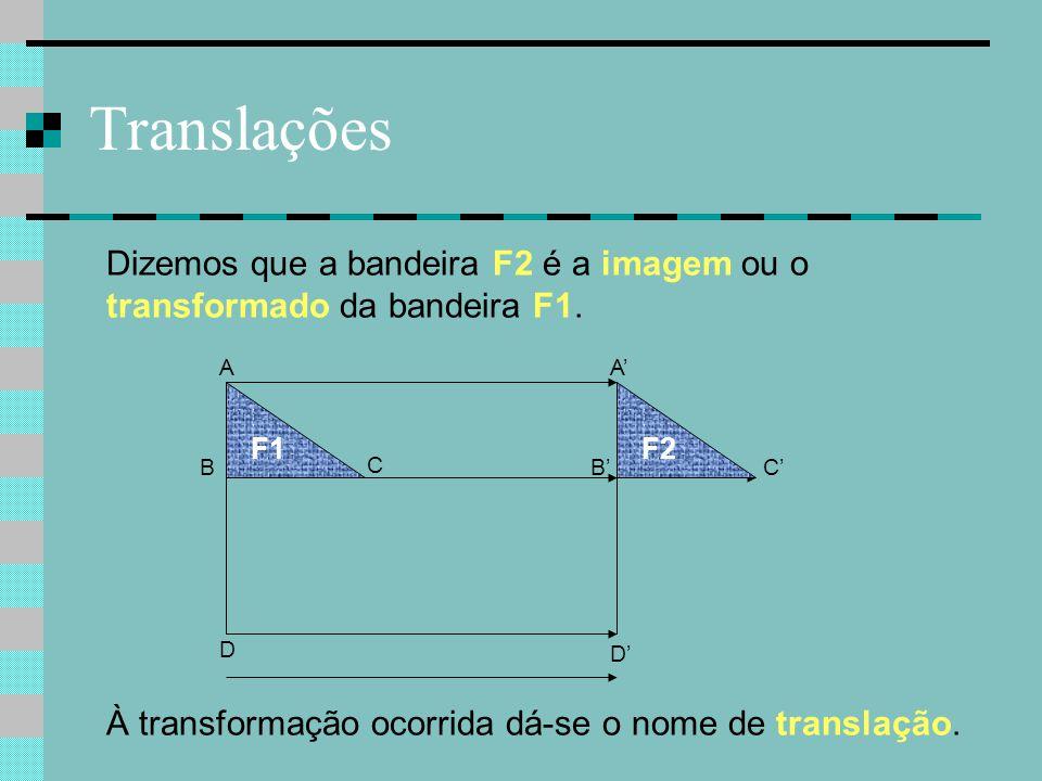 Translações B C F1 A D F2 C' A' B' Dizemos que a bandeira F2 é a imagem ou o transformado da bandeira F1. À transformação ocorrida dá-se o nome de tra