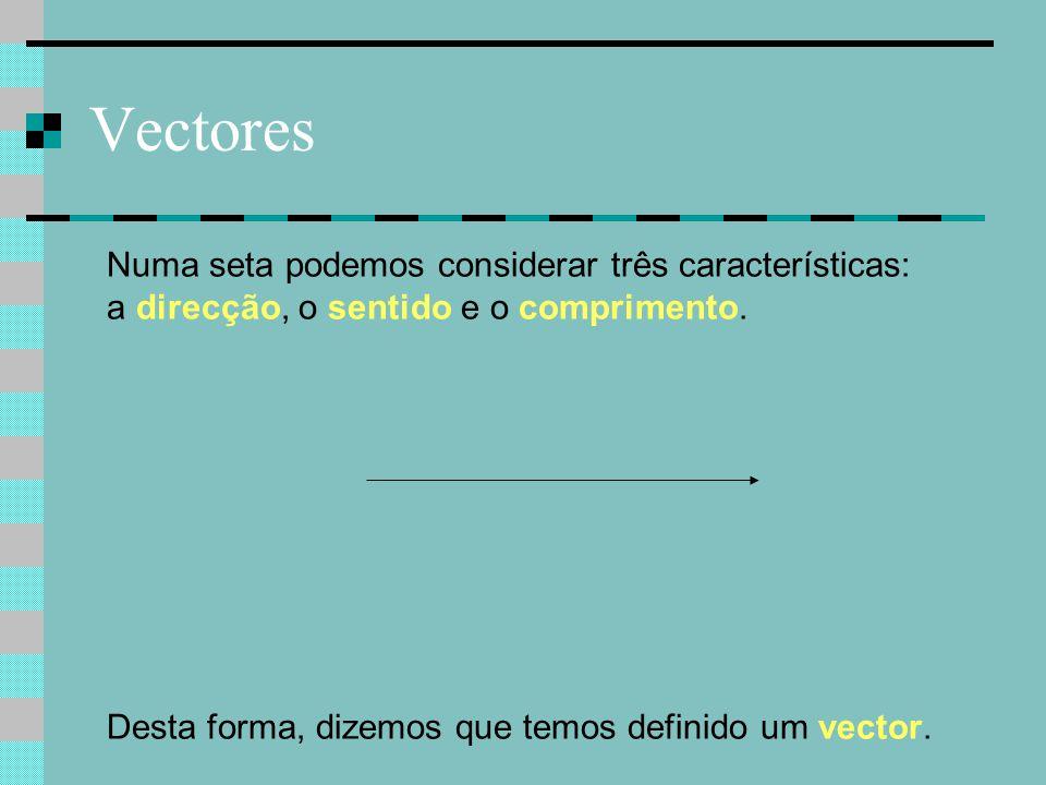 Vectores Numa seta podemos considerar três características: a direcção, o sentido e o comprimento. Desta forma, dizemos que temos definido um vector.