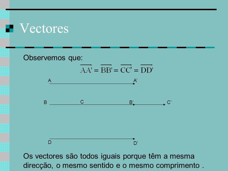 Vectores Observemos que: Os vectores são todos iguais porque têm a mesma direcção, o mesmo sentido e o mesmo comprimento. C C'B A D A' B' D'