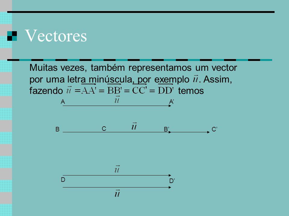 Vectores Muitas vezes, também representamos um vector por uma letra minúscula, por exemplo. Assim, fazendo temos C C'B A D A' B' D'