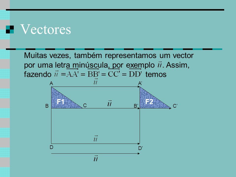 Vectores Muitas vezes, também representamos um vector por uma letra minúscula, por exemplo. Assim, fazendo temos C C'B A D A' B' D' F1F2