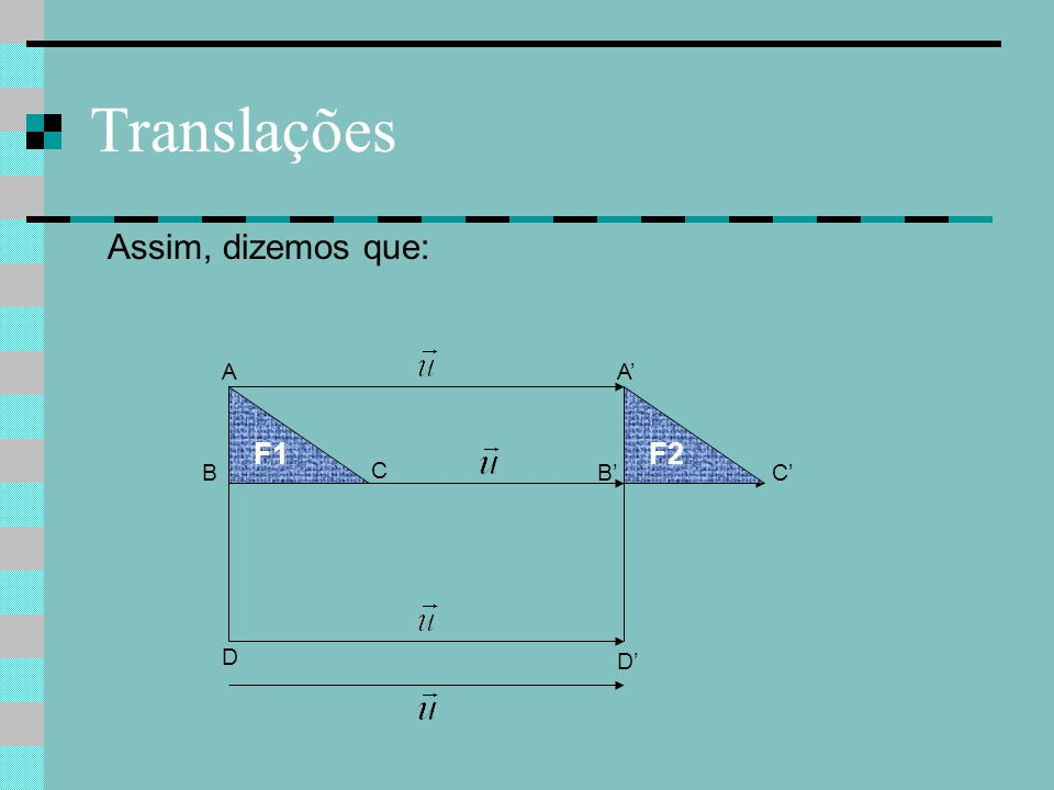 Translações Assim, dizemos que: C C'B A D A' B' D' F1F2