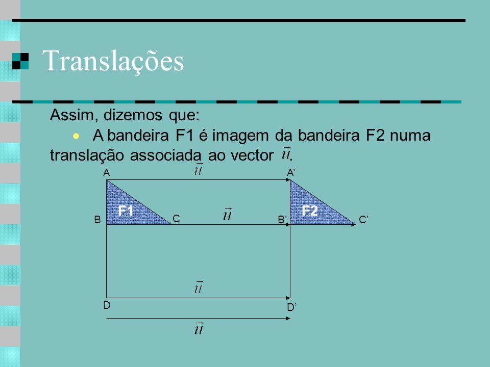 Translações Assim, dizemos que: C C'B A D A' B' D' F1F2  A bandeira F1 é imagem da bandeira F2 numa translação associada ao vector.