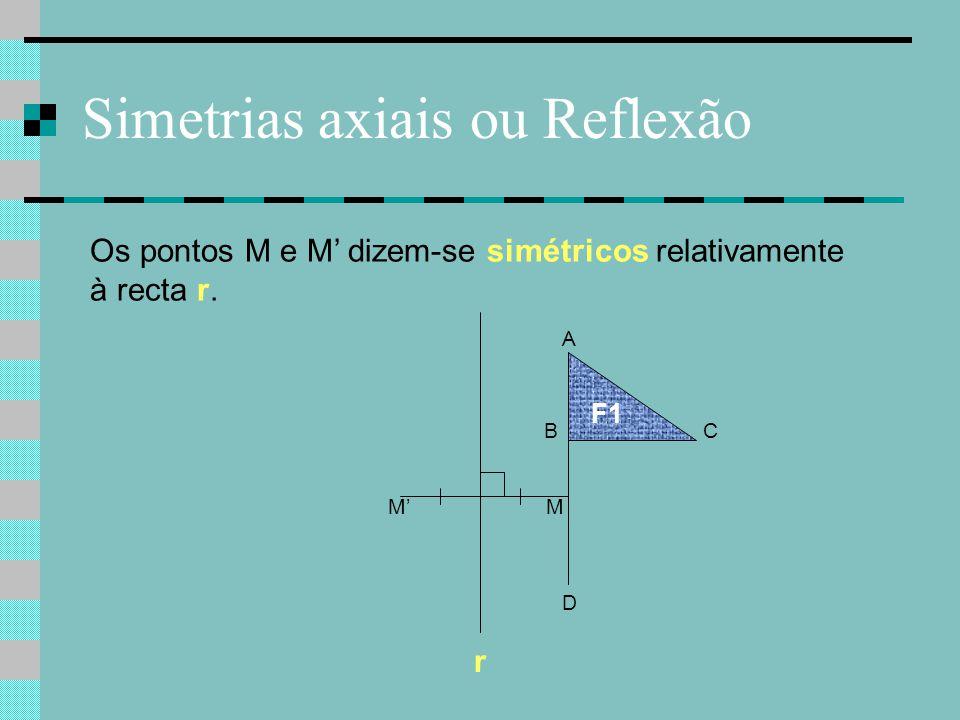 F1 C A B Os pontos M e M' dizem-se simétricos relativamente à recta r. D r MM' Simetrias axiais ou Reflexão