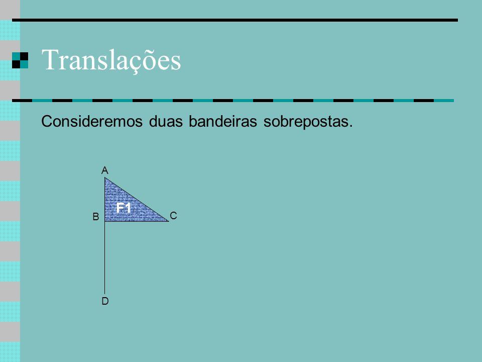 Translações Consideremos duas bandeiras sobrepostas. F1 A D B C