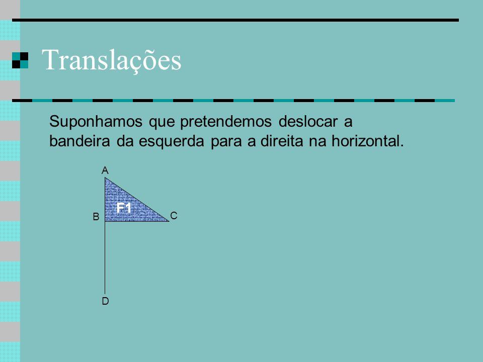 Translações B F1 A D Suponhamos que pretendemos deslocar a bandeira da esquerda para a direita na horizontal. C