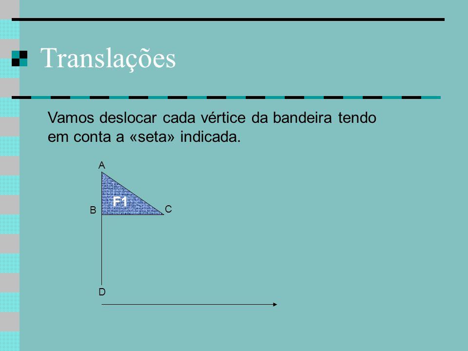 Translações F1 A D Vamos deslocar cada vértice da bandeira tendo em conta a «seta» indicada. B C