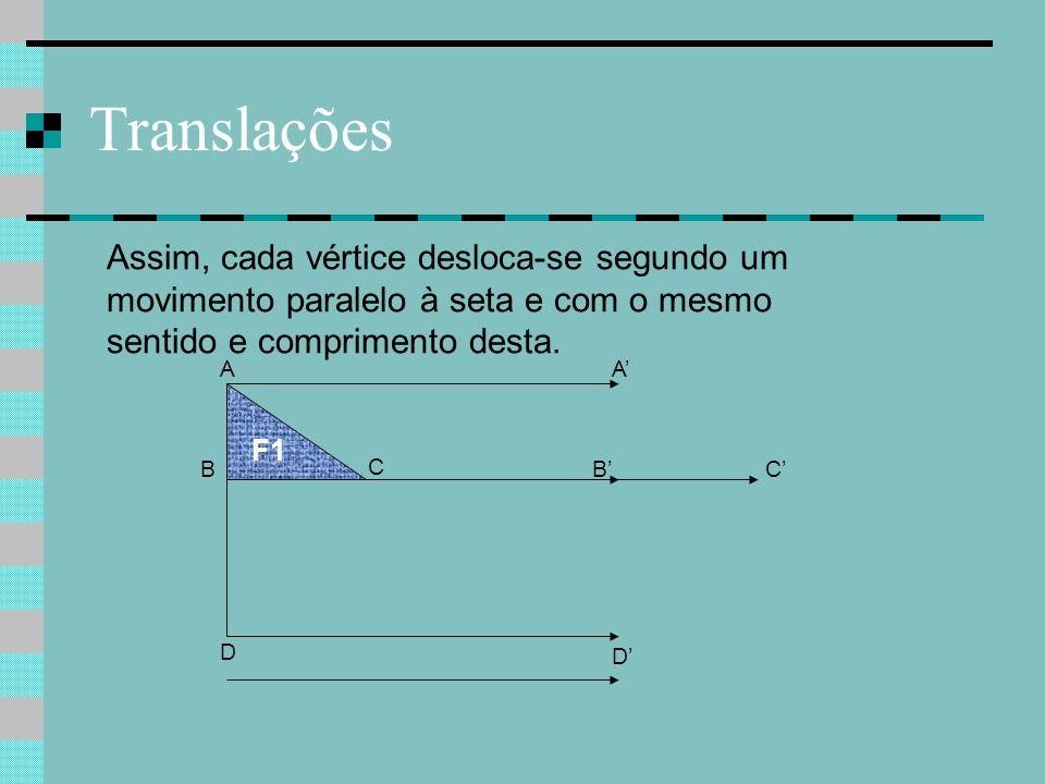 Translações B C F1 A D Assim, cada vértice desloca-se segundo um movimento paralelo à seta e com o mesmo sentido e comprimento desta. C' A' B' D'