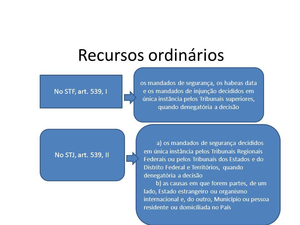 Recursos ordinários No STF, art. 539, I os mandados de segurança, os habeas data e os mandados de injunção decididos em única instância pelos Tribunai